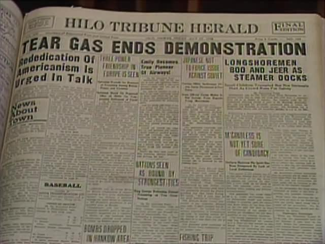Hilo Tribune Herald 1938 headlines tape 1