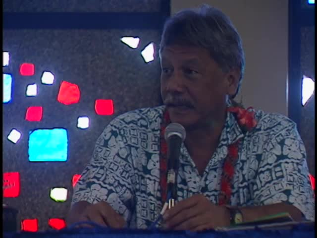 """Singing; speeches; and part 1 of """"Kaho'olawe, Hōkūleʻa and Health: from ʻāina to kai"""" panel 3/8/98"""