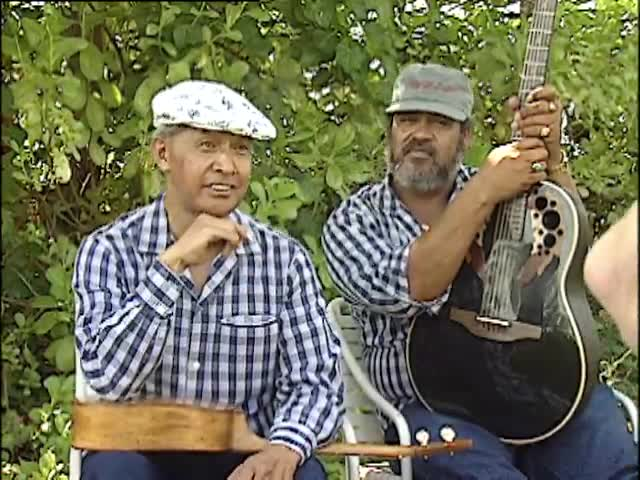 """Backyard jam session with Eddie Kamae and Sons of Hawaiʻi and interview with Eddie Kamae and Claybourne """"Braddah Smitty"""" Smith for NBC Today 11/2/91 tape 2"""