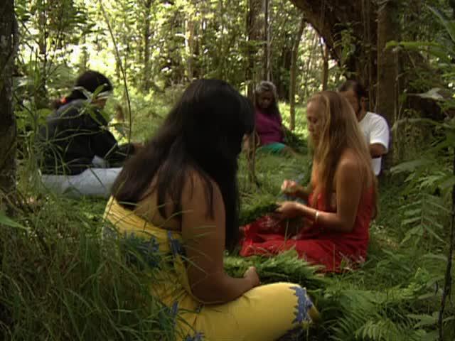 Lei making with members of Hālau O Kekuhi and Kumu Hula Pualani Kanakaʻole Kanahele
