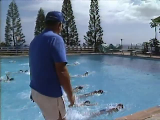B-roll of Coach Bill Smith and the Kamehameha Schools Swim Team practice 5/84
