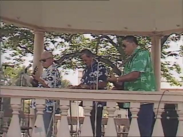 Alvin, Barney and Atta Isaacs with Sol Bright: musical performance, Tribute to George Helm and Kimo Mitchell, March 1982