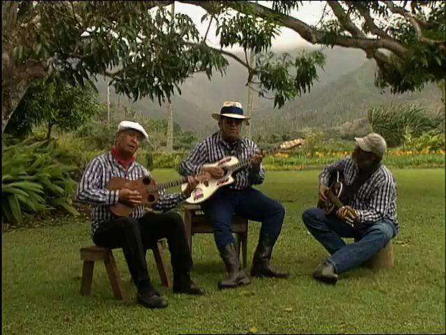 Eddie Kamae, Braddah Smitty, and Dennis Kamakahi perform songs in Hanalei 4/21/94 tape 2