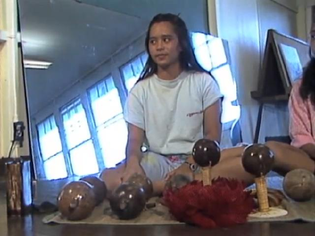 Hāna hālau discussing hula implements