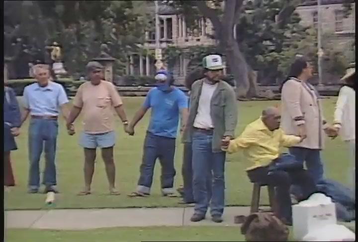 Harry Kunihi Mitchell and Kamakahukilani vonOelhoffen: performances, Tribute to George Helm and Kimo Mitchell, March 1982