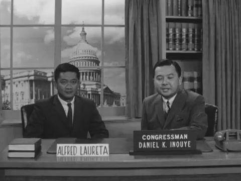 Congressman Daniel K. Inouye talks with Alfred Laureta, 1962