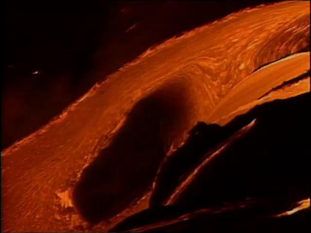 Lava entering ocean at night 6/95 tape 2