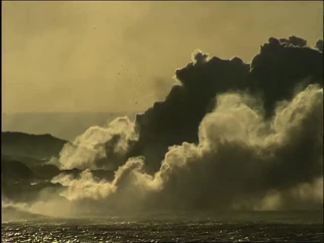 Lava entering ocean near Wahaʻula 8/21/93